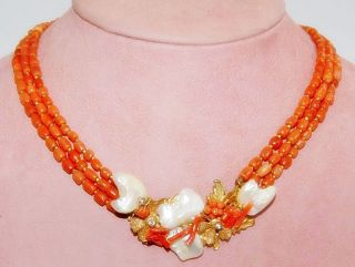 Vintage Robert Demario Natural Red Coral Bead Necklace VG Condition