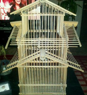 Antique Vintage Oriental WOODEN BIRD CAGE Decorative Asian Art
