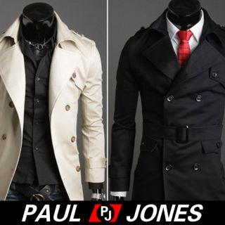 Paul Jones Men'Stylish Double Pea Slim Fit Jackets Trench Coat