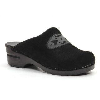 Dansko Sonja Stapled Collection Black Suede Open Back Comfort Clogs