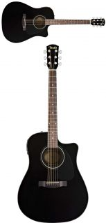 Fender CD60CE Acoustic Electric Black Guitar and Case