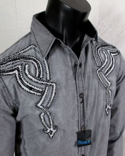 Roar Woven Button Shirt Dedication in Grey with Prints Embroidery