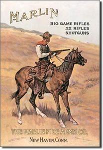 238 Metal Tin Sign Marlin Cowboy on Horse Made in The USA 11 x 16 Dav