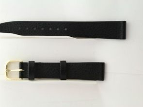 Hirsch Dakota 16mm Black Leather Watch Strap Band Flat