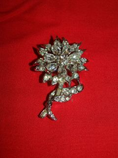 "Vintage Silver Tone Rhinestone Brooch Pin 2"""