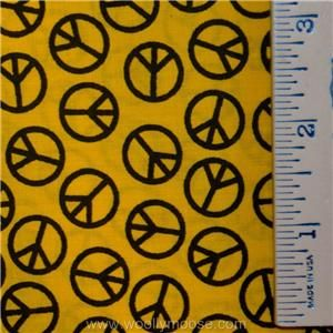 Black PEACE SIGN on Yellow DAVID Textiles Cotton Blend FABRIC 1/2 YD
