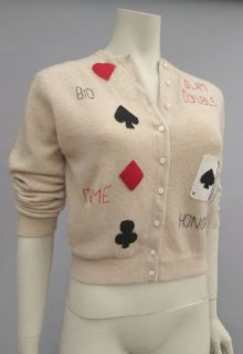 Vintage 50s 60s Dalton Cashmere Cardigan Sweater Playing Cards Bridge