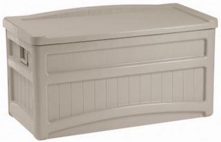 Large Rolling Suncast 73 Gallon Patio Deck Storage Box Seat Top Wheels