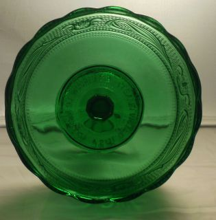 Brody Co M6000 Emerald Green Glass Compote Pedestal Bowl Dish Dots