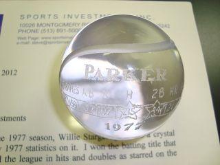 1977 Dave Parker Crystal Baseball Award from Willie Stargell w Stars
