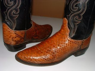 DAN POST Men BROWN RATTLE SNAKE SKIN Leather COWBOY WESTERN Boots 13