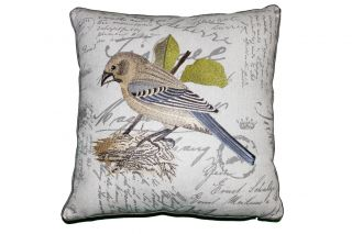 EMBROIDERED & PRINTED BIRD DESIGN DECORATIVE THROW PILLOW  18 SQUARE