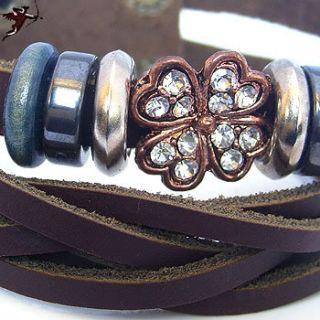 Tribal Wristband Four Leaf Clover Bling Bracelet Dan Cupid