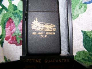 USS John F Kennedy CV 67 SHIP Zippo Lighter RARE Black