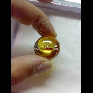 NATURAL GEM POWER STONE BEAD DEEP RIVER NAGA EYE THAI AMULET YELLOW