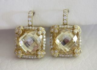 Judith Ripka 18K Yellow Gold Canary Crystal Diamond Olivia Earring