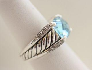 David Yurman Sterling Silver Blue Topaz & Diamond Sculpted Ring