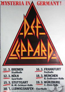 concert poster for the DEF LEPPARD 1988 HYSTERIA GERMANY Tour