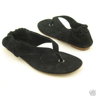 265 Delman Serena Black Suede Flat Sandal Shoes 9 New