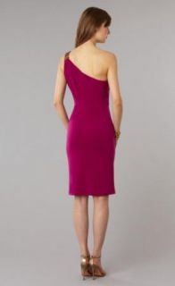 David Meister Orchid Draped Jersey One Shoulder Jeweled Dress 14 $360