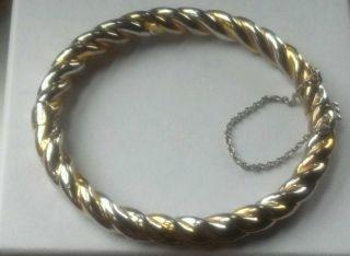 Ross Simons Bangle 18K Yellow Rose Gold Sterling Silver 925 Bracelet $