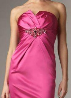 David Meister Hot Pink Satin Beaded Strapless Cocktail Sheath Dress 6