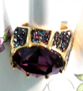 Sparkling Colorful Kenneth J Lane Pave Rhinestone Ring