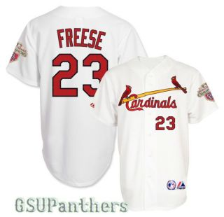 2012 David Freese St Louis Cardinals Home Jersey w Champions Patch Sz