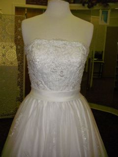 DaVinci White Embroidery Bead Lace Bridal Gown Wedding Dress NWT $