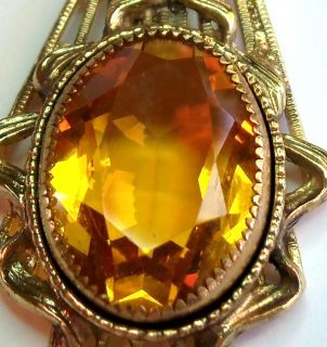 Whiting Davis 1940s Citrine Amber Austrian Crystal Laviliar Necklace