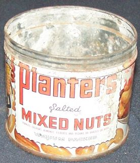 Vintage 7 oz Planters Salted Mixed Nuts Container Collectors Tin Can