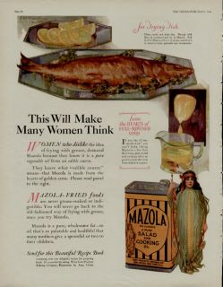 1924 MAZOLA OIL AD / LADY OF THE CORN SCENE   FRYING FISH ARTISTS J.W