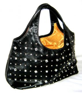 Kathy Van Zeeland Black with Silver Rhinestone Studded Purse