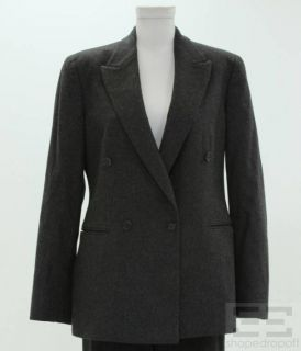 Piece Dark Grey Cashmere Wool Jacket Pants Suit Size 8