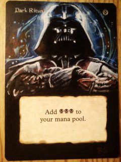 Dark Ritual Darth Vader Star Wars Painted Altered Art MTG Magic EDH