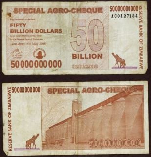 50 Billion Dollars Zimbabwe Bank Note Agro cheque P63