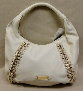 Auth Michael Kors Studded ID Chain LG Vanilla Leather Hobo Bag MSRP$