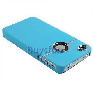 Deluxe Light Blue Hard Case Cover w Chrome for Apple iPhone 4 4G 4S