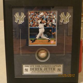 Derek Jeter The Captain Shadow Boxed Game Used Baseball Steiner Le 3