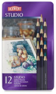 Derwent Studio Color Pencils 12 with Tin Brandnew