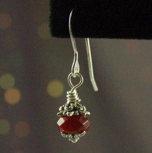 Faceted Ruby Red Garnet Rondelle Earrings 925 Sterling Silver Earwires
