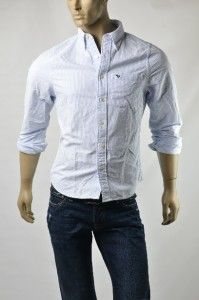 Abercrombie Fitch A F Mens AF Shirts Stripe Woven Button Down Shirt Sz