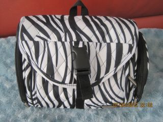 Travelon Zebra Design Cosmetic Travel Bag New w Otags White Black Aqua