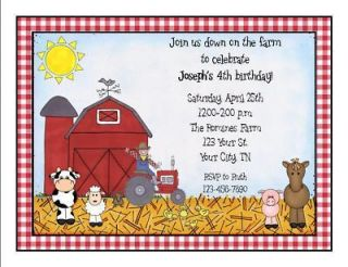 Personalized Farm Animal Birthday Party Invitations