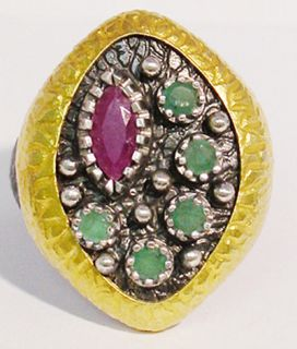 Designers Two Tone Ruby Emerald Silver Ring Size 9