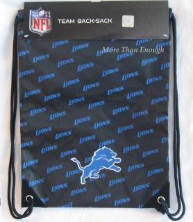 Detroit Lions Draw String Bag sack gym tote back pack NFL Official