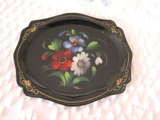 Vintage Hand Painted Blue, Red, White Floral Russian Toleware Tole