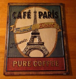 Cafe Paris Retro Vintage Style Coffee Shop Decor Embossed Wall Plaque