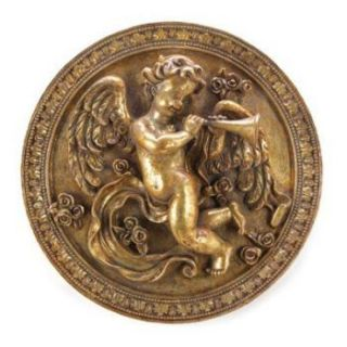 Round Cherub Hanging Plaque Gilded Glaze Home Decor Accent Collectible