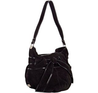 Kooba Devin Black Leather Suede Satchel Made in Italy